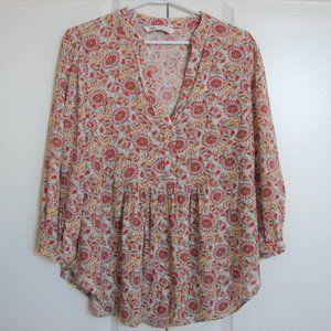 Zara Floral Boho Peasant Blouse Top